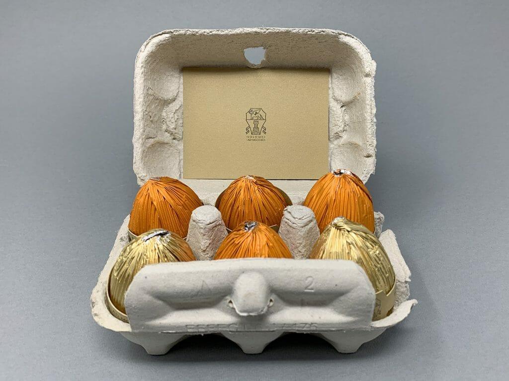 La confezione di uova di cioccolato per Brunello Cucinelli