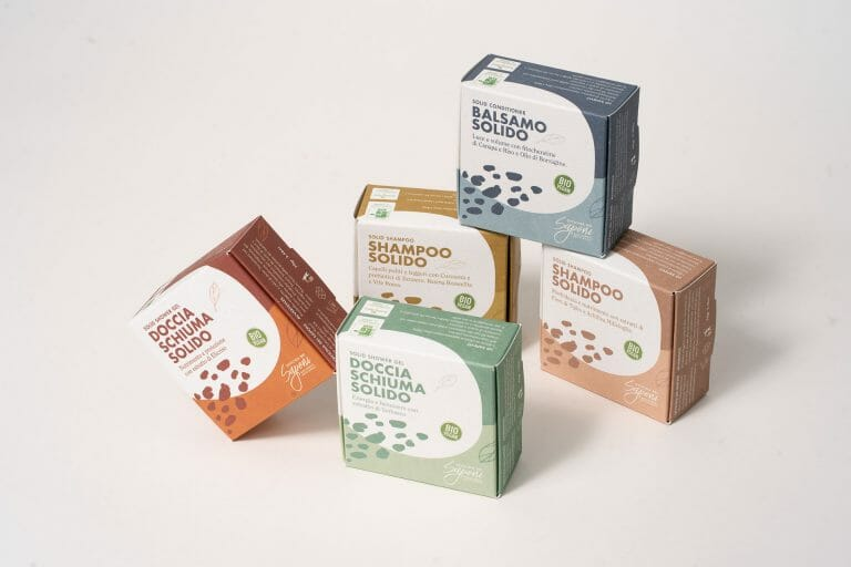 Scatole per sapone solido con carte riciclate e riciclabili all'infinito.
